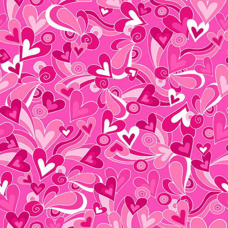 Hearts Love Vector Seamless Repeat Pattern Vettoriali