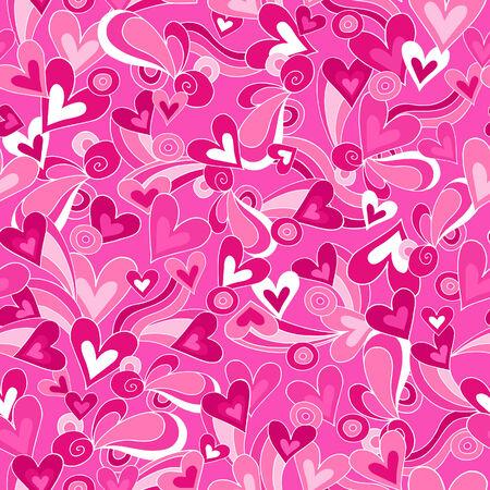 Hearts Love Vector Seamless Repeat Pattern Illustration