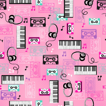conversational: Music and Cassettes Vector Seamless Repeat Pattern