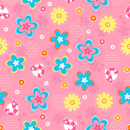 Flowers and Ladybugs Vector Seamless Repeat Pattern Stock Vector - 4629458