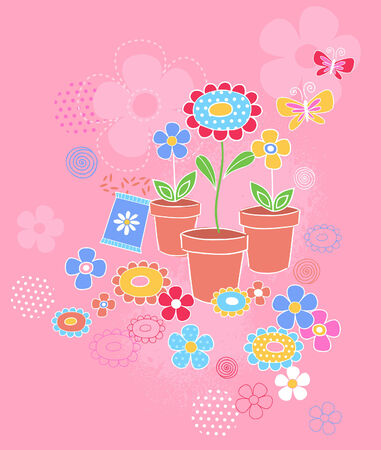 potted: Garden Potted Flowers Vector Seamless Repeat Pattern