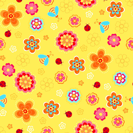 Flowers, Ladybugs, and Bees Seamless Repeat Pattern Vector Vector