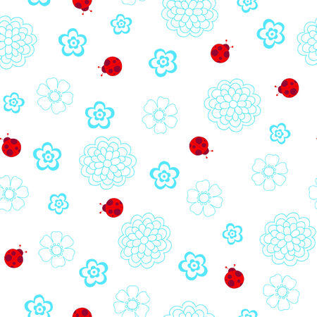 Ladybugs Seamless Repeat Pattern Vector Vector