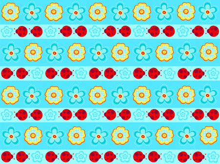 Ladybug Stripe Seamless Repeat Pattern Vector Vector