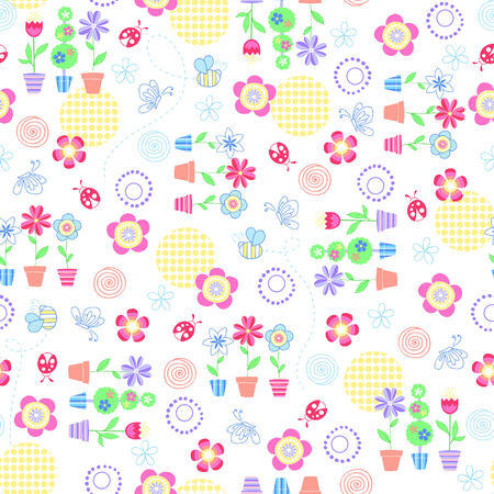 spring: Flower Garden Seamless Repeat Pattern Vector