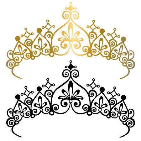 Princess Tiara Crowns Silhouette Vector Illustratie: