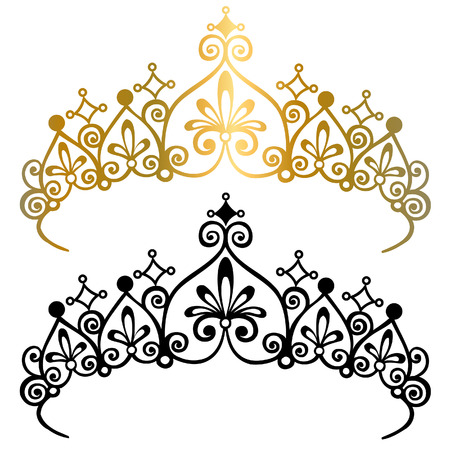 Princess Tiara Crowns Silhouette Vector Illustration