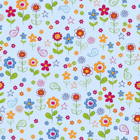 Doodle Flowers Seamless Repeat Pattern Vector Illustration
