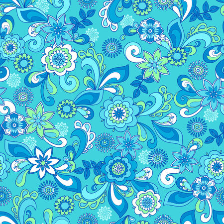 Funky Floral Seamless Repeat Pattern Vector Illustration Illustration