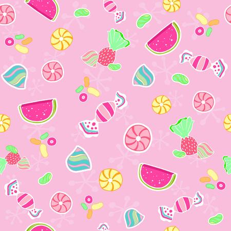 キャンディ シームレスな繰り返しパターンのベクトル図