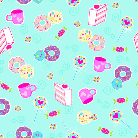 Desserts and Sweets Seamless Repeat Pattern Vector Illustration Vector