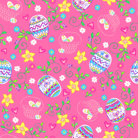Easter Eggs Seamless Repeat Pattern Vector Illustration Vector