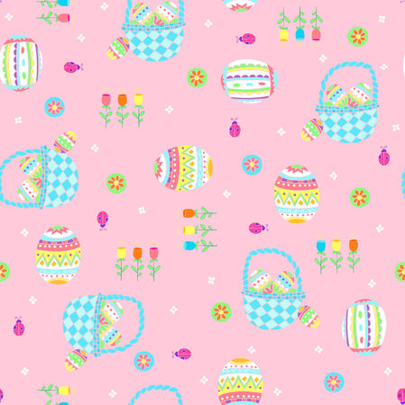 Easter Baskets Seamless Repeat Pattern Vector Illustration Vector