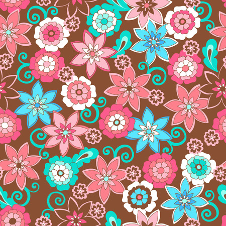 vector flowers: Flowers Seamless Repeat Pattern Vector Illustration