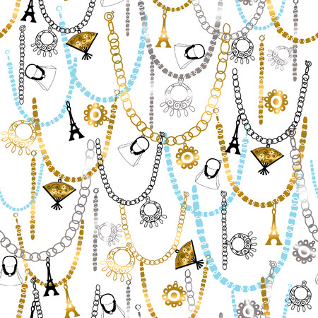 jewelry vector: Charm Bracelets and Jewelry Seamless Repeat Pattern Vector Illustration