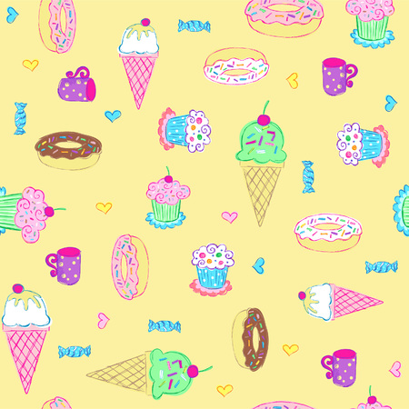 Ice Cream and Sweets Seamless Repeat Pattern Vector Vector