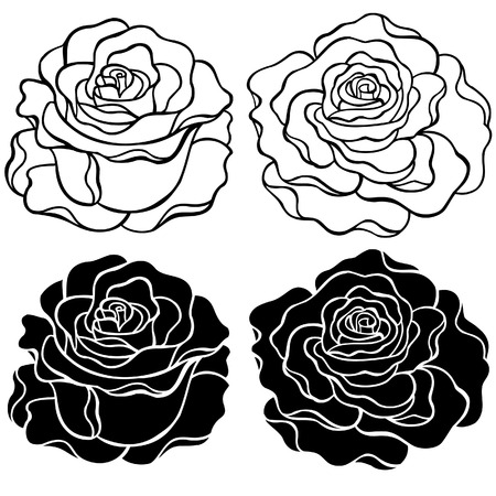Roses Outlines and Silhouette Vector Illustration Vectores