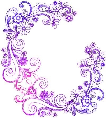 Fleurs et tourbillons Sketchy Doodle frontaliers Vector Banque d'images - 5080471