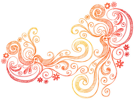 Flowers Sketchy Doodle Border Vector Illustration