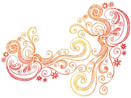 Flowers Sketchy Doodle Border Vector Illustration Stock Vector - 5080469