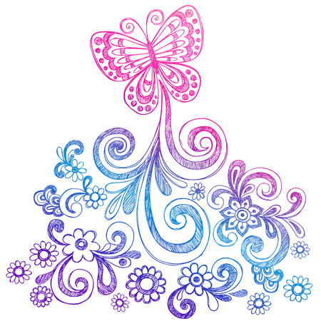 Butterfly and Flowers Sketchy Doodle Vector