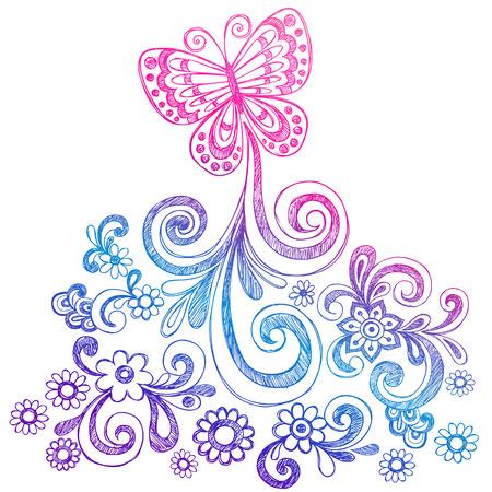Vlinders en Bloemen Sketchy Doodle Vector Stock Illustratie