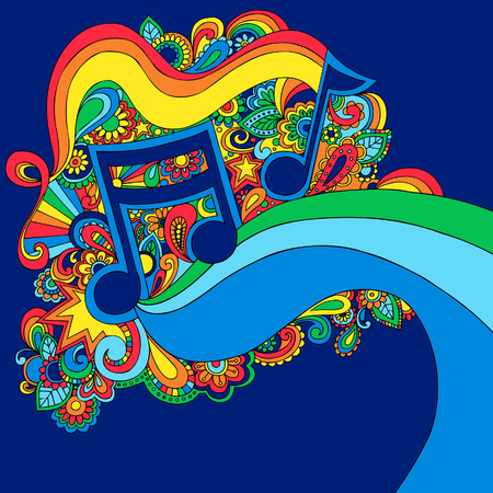 Psychedelic Vector Music Notes Illustration Illustration