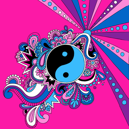 yinyang: Psychedelic Yin Yang Vector Illustration Illustration