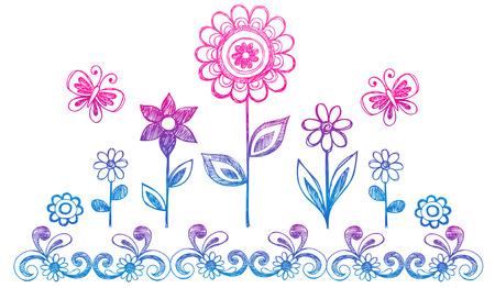 Schetsmatig Doodle Flower Garden Vector illustratie