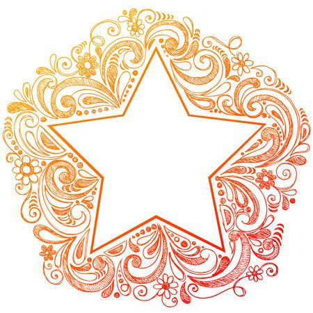 Sketchy Doodle Star Vector Illustration Çizim