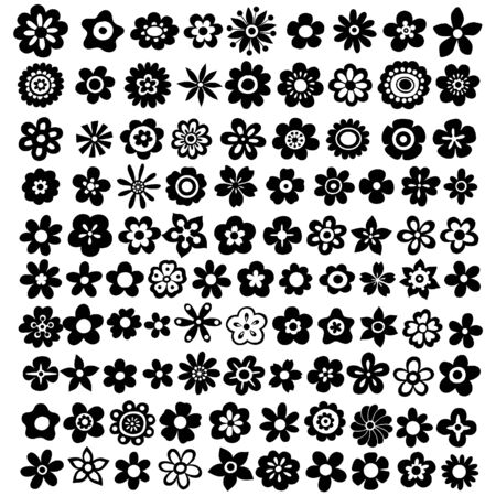 100 Flower Silhouettes Vector Illustration Ilustracja