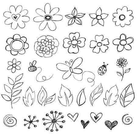 doodle art clipart: Sketchy Doodle Flower Vector Illustrations