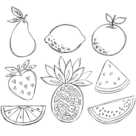 Sketchy disegni di Vector Fruit Doodle  Archivio Fotografico - 5119385