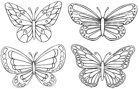 Schetsmatig Doodle Butterfly Vector tekeningen Stock Illustratie