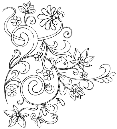 Sketchy Doodle Vines and Flowers Scroll Vector Drawing