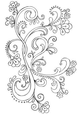 Sketchy Doodle Ornate Scroll Vector Drawing Çizim