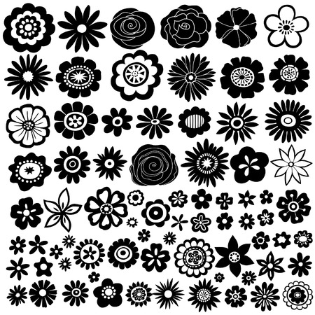 flower silhouette: Flower Silhouette Vector Illustration Set