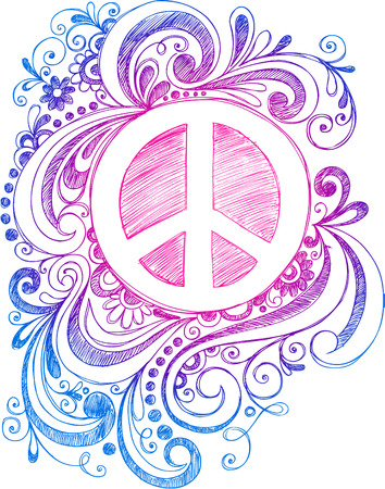 Peace Sign and Swirls  Vector
