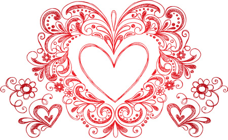 xoxo: Heart Love Border Frame  Illustration