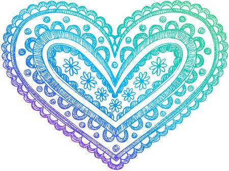 Valentine's Day Liefde Henna Hart Sketchy Doodle Vector Illustratie