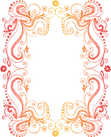 Swirly Abstract Vines Border Frame Vector