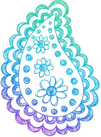 Paisley Doodle Sketchy Henna Vector Design Elements Illustration Vector