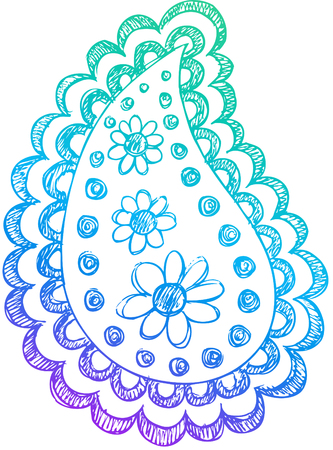 Paisley Doodle Sketchy Henna Vector Design Elements Illustration Illustration