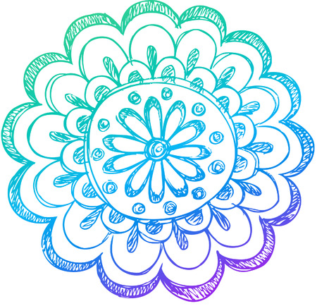 Sketchy Doodle Henna Flower Vector Illustration Ilustracja