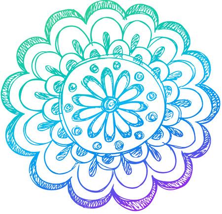 Sketchy Illustration Vecteur Doodle henné Fleur Banque d'images - 13383868