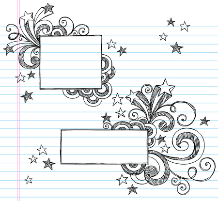 Hand-Drawn Sketchy Notebook Doodles Frames with Stars Illustration on Lined Sketchbook Paper Background