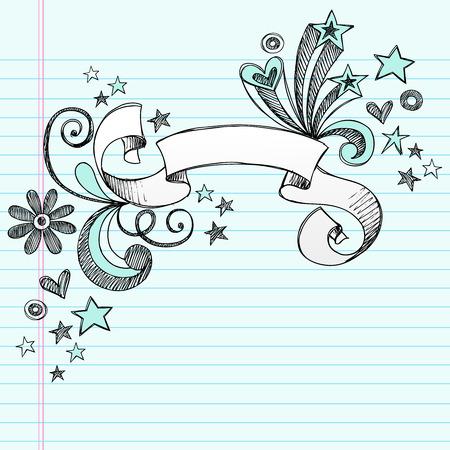 手描きのスケッチ ノート落書き星イラスト背景に並ぶスケッチ用紙にスクロール バナー  イラスト・ベクター素材