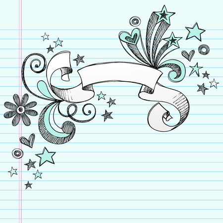 Hand-Drawn Sketchy Notebook Doodles Scroll Banner with Stars Illustration on Lined Sketchbook Paper Background Vettoriali