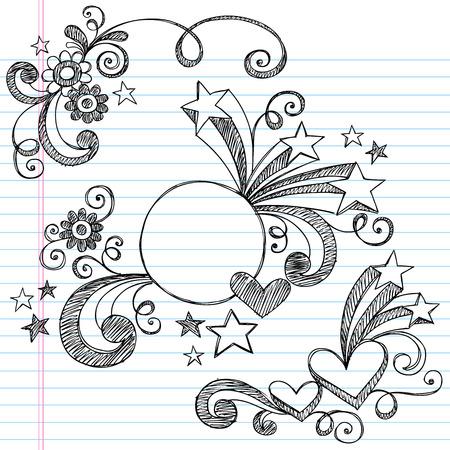 手描きのスケッチ ノート落書き並ぶスケッチ ブック用紙の背景の図  イラスト・ベクター素材