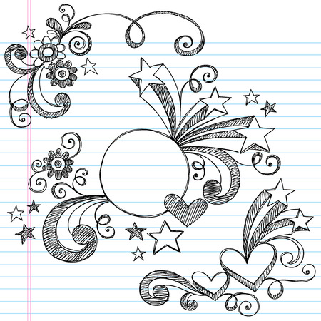 Hand-Drawn Sketchy Notebook Doodles Illustration on Lined Sketchbook Paper Background